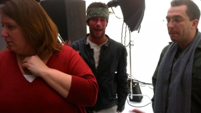 On set at photo shoot in West Village, NYC for Progressive Print Ad (2013)